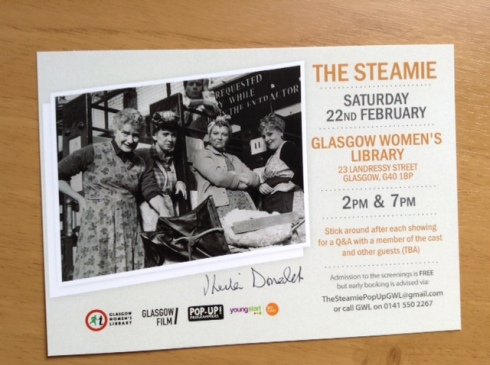 """The Steamie"" postcard autographed by Sheila Donald"